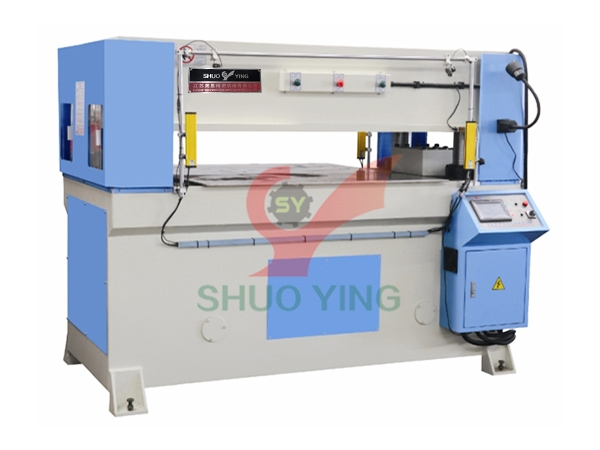 Base plate micro motion precision four column cutting machine